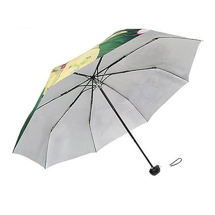 AFCITY Mujer Hombre Paraguas Viaje Paraguas de Sol Patrón de Hoja de Loto Verde Impermeable Paraguas