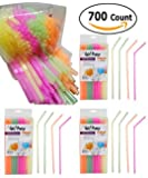 Drinking Straws Neon Colored (700-Count) Flexible, Disposable Kid Friendly 4 Pack (175 Each)