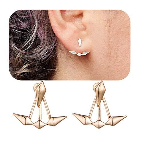 Eoumy Geometric Triangle Ear Jacket Earrings Gold Leaf Dangle Teardrop Stud Earrings for Women Girl