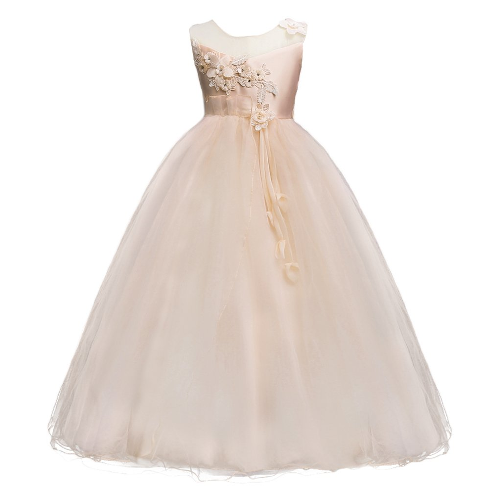 d406b2a4 Amazon.com: Girls Princess Tulle Lace Flower Pageant Dress Puffy Floor  Length Wedding Bridesmaid Dress Party Tutu Maxi Gown: Clothing