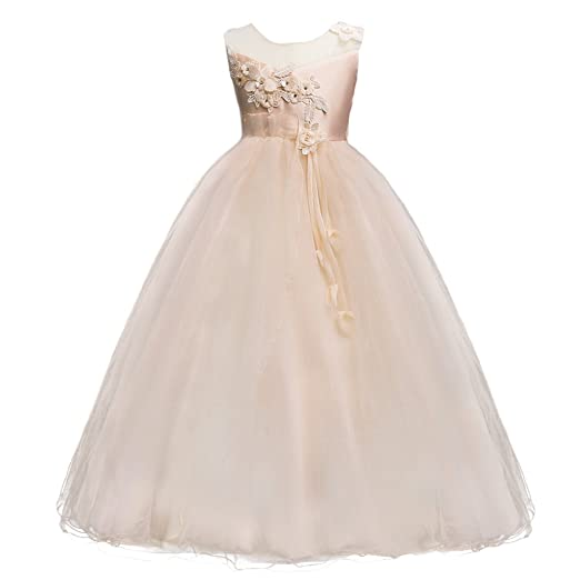 e7794bb4b55 Girls Princess Tulle Lace Flower Pageant Dress Puffy Floor Length Wedding  Bridesmaid Dress Party Tutu Maxi Gown