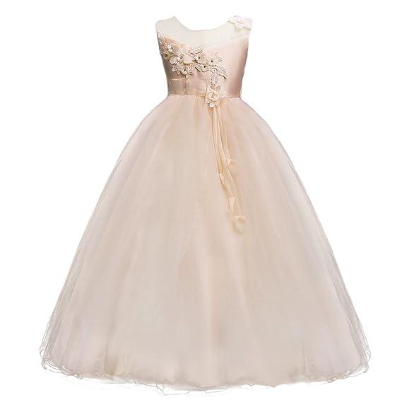 a899f6ed80aa Flower Girls Lace Tulle Dress Wedding Bridesmaid Communion Evening ...