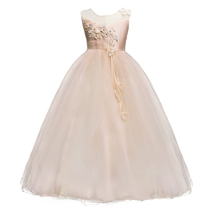 bf43f981042 IWEMEK Kids Girls Princess 5-16T Tulle Lace Flower Pageant Dress Puffy  Floor Length Wedding