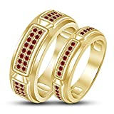 TVS-JEWELS Lab Created Red Garnet Gemstone Couple Ring Gold Plated Sterling Silver 925 (14k gold plated)