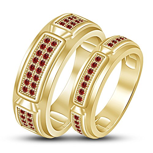 TVS-JEWELS Lab Created Red Garnet Gemstone Couple Ring Gold Plated Sterling Silver 925 (14k gold plated) by TVS-JEWELS