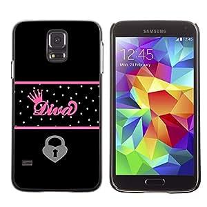 Be Good Phone Accessory // Dura Cáscara cubierta Protectora Caso Carcasa Funda de Protección para Samsung Galaxy S5 SM-G900 // Crown Queen Heart Locked Black Polka