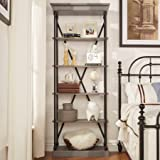 Chelsea Lane 33''W Bookcase, Frosting Grey, Features 5 fixed shelves