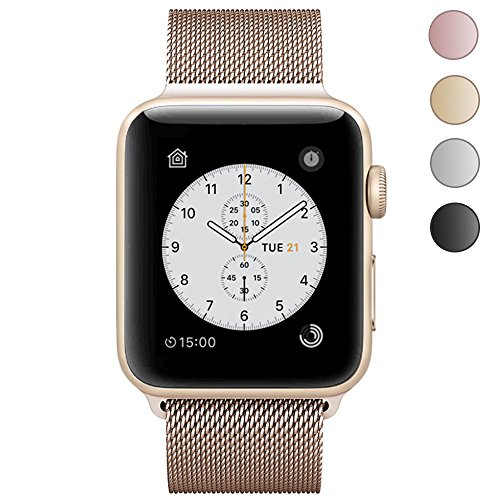 JAKPAS 38MM Milanese Loop Stainless Steel Replacement Apple Watch Band with Magnetic Closure Clasp for iWatch Series 1, Series 2, Sport & Edition (Gold)