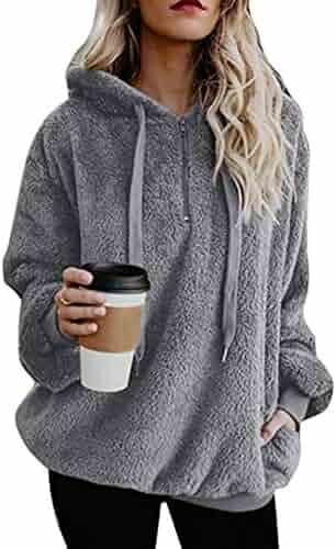 PRETTYGARDEN Women's Winter Fuzzy Fleece Coat Oversized Hooded Pullover Sweatshirt Outwear with Pockets