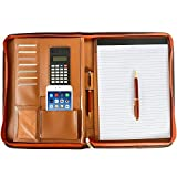 Arvada & Co PU Leather Portfolio Padfolio Zippered Professional Business Organizer with Calculator & Memo Note Pad - Brown (Brown)