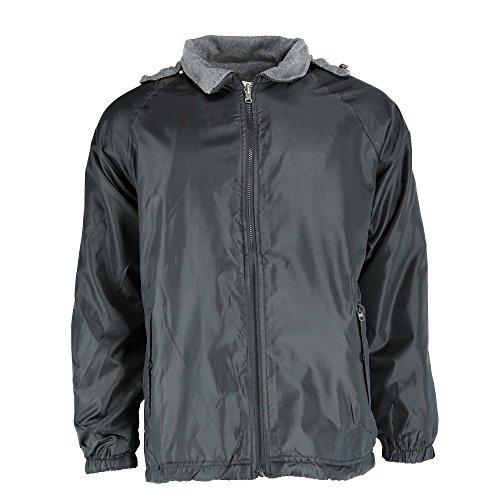 (Ten West Apparel Men's Reversible Fleece and Windbreaker Rain Jacket, Large Black)