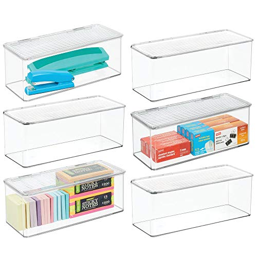 mDesign Long Plastic Stackable Home, Office Supplies Storage Organizer Box with Attached Hinged Lid - Holder Bin for Note Pads, Gel Pens, Staples, Dry Erase Markers, Tape - 14