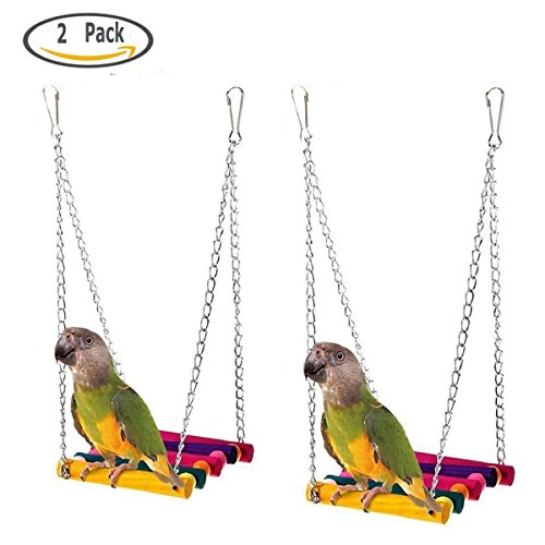 Buytra 2 Pack Bird Toys,Pet Bird Parrot Parakeet Budgie Cockatiel Cage Hammock Swing Hanging Toy (Budgie Swing)