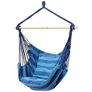 Charming Busen Hanging Patio Chair Hammock Swing Outdoor Porch Tree Rope Seat Yard  Hanging Rope Chair Porch Swing Lounge Camp Seat (Blue)