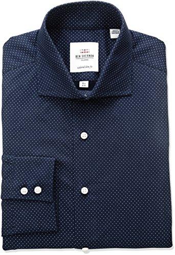ben-sherman-mens-dot-print-spread-collar-dress-shirt-navy-17-neck-36-37-sleeve