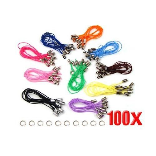 Sonline 100 Assorted Coloured Mobile Phone Strap String with 7mm Jump Rings --- Black / White / Pink / Dark purple / Light purple / Blue / Green / Red / Orange / Brown (Blue Strap Charm)