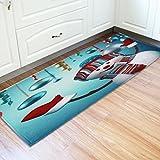 Vacally Christmas Floor Entrance Door Bathroom Mat Indoor Bathtub Carpet Doormats Decor Non-slip Foot Pad Door Floor Mats Hall Rugs 24 x 71 Inch Kitchen Carpet Decorations (F)