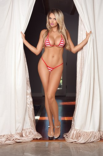 69c7086fa20 Red and White Stripes Sexy Micro G-String Bikini 2pc Mini Thong Small Top w
