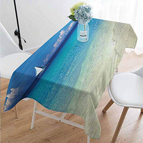 Nautical Anti-Wrinkle and Anti-Wrinkle Polyester Long Tablecloth Exotic Tropic Beach in Philippines Island Horizon Summer Paradise Concept for Weddings/banquets W54 x L108 Inch Turquoise Cream