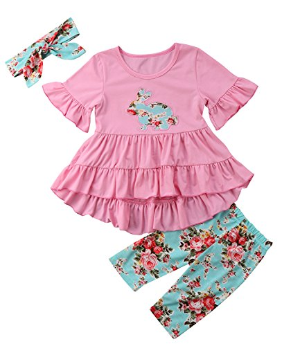 Toddler Baby Girl Easter Outfit Floral Ruffles Tunic Dress Leggings Headband Clothes Set (Pink Floral, 2T(2-3 - Clothes Easter