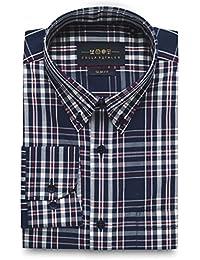 Men's Superfine Cotton Slim Fit Button Down Collar Long Sleeve Sport Shirt with Pocket