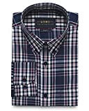 Collar Tales Men's Superfine Cotton Slim Fit Button Down Collar Long Sleeve Sport Shirt with Pocket - Dark Blue, Cream & Red Check
