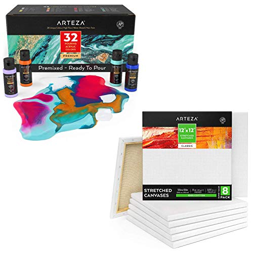 Arteza Art Supplies Bundle for Acrylic Pouring Includes Streched Canvases, Ideal for Beginners and Professional Artist