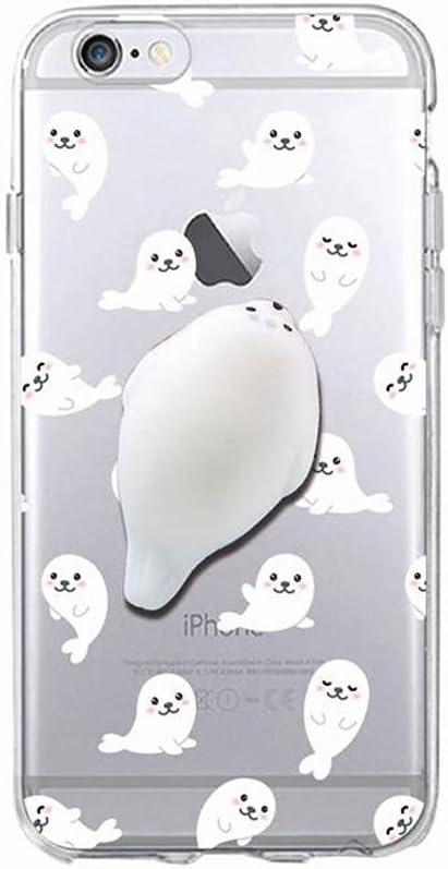 Cover iPhone 7 Plus, Squishy 3D Animal Animale Cat Gatto iPhone 7 Plus Case, Cute Stress Silicone Fun kawaii Case Cover Custodia for iPhone 7 Plus ...