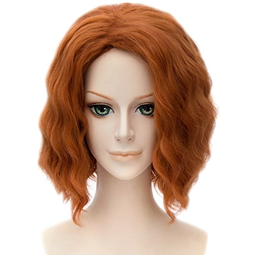 MSHUI The Avengers Black Widow Natasha Costume Cosplay Wig Short Wavy Fluffy Hair