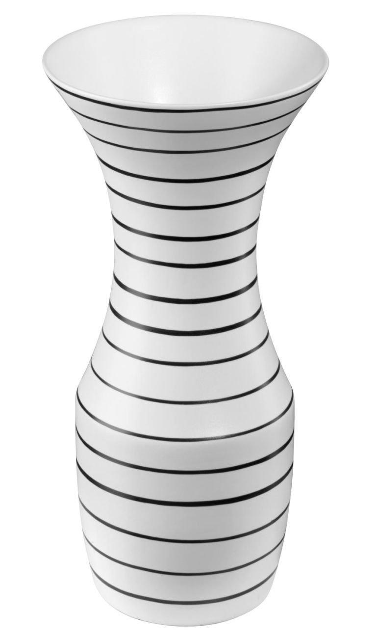 ASA Selection Okapi Vase, Blumenvase, Blumentopf, Tischvase, Keramikvase, Keramik, Weiß mit schwarzen Streifen, 35 cm, 70024060