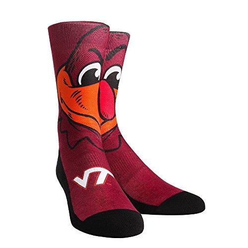NCAA Virginia Tech Hokies Hokie Bird Mascot University Custom Athletic Crew Socks, Large/X-Large, Maroon Virginia Tech University