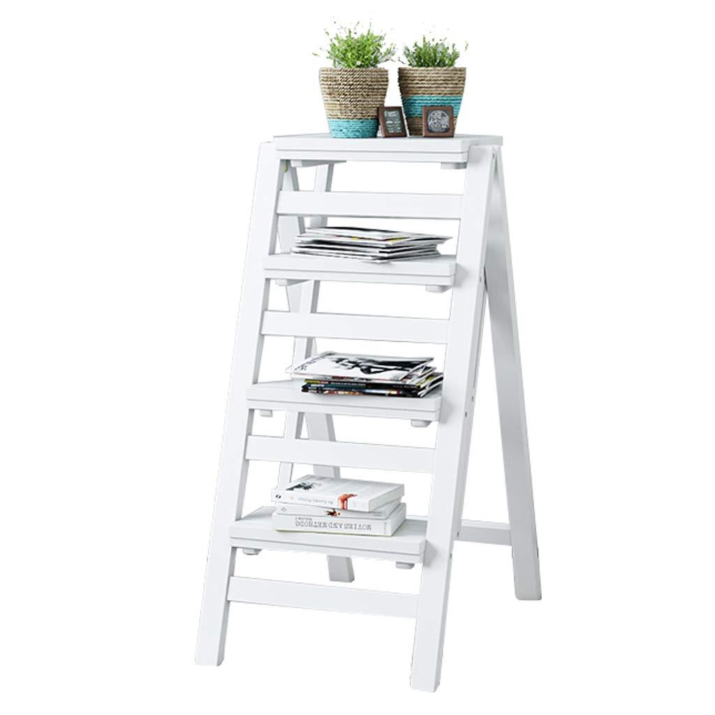 竹ステップ梯子スツール折りたたみ脚立、4つのステップ、純木の花の棚はしごスツールガーデンツール、キッチン/オフィス/図書館脚立 - 4色 B07R87ZQL9 White