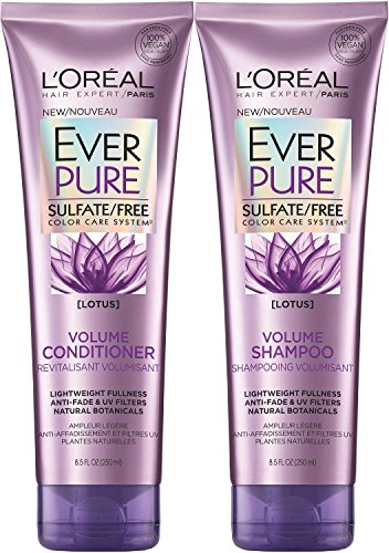 Pure Volume Conditioner - L'Oreal Paris EverPure Sulfate-Free Color Care System Volume Shampoo & Conditioner with lotus, 8.5 Ounce Each
