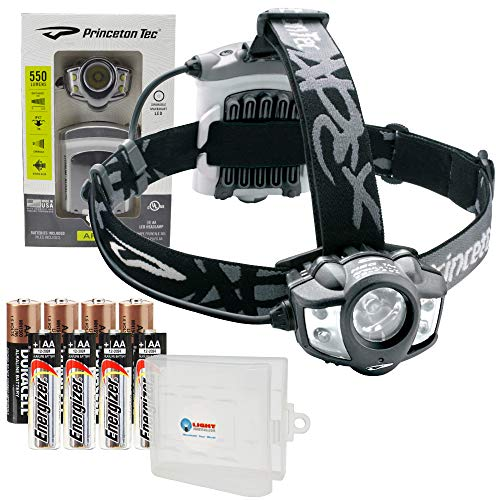Princeton Tec Apex Waterproof Headlamp 550 Lumen LED Bundle with 4 Extra Energizer AA Batteries and a Lightjunction Battery Case