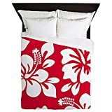 CafePress - Red Hawaiian Hibiscus - Queen Duvet Cover, Printed Comforter Cover, Unique Bedding, Microfiber