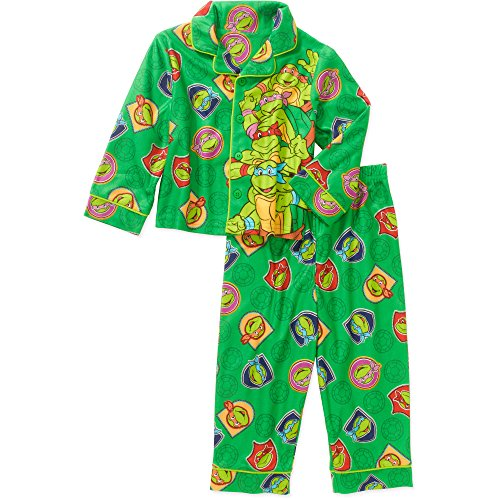 Teenage Mutant Ninja Turtles 2 Piece Button Down Flannel Pajama Set (5T)