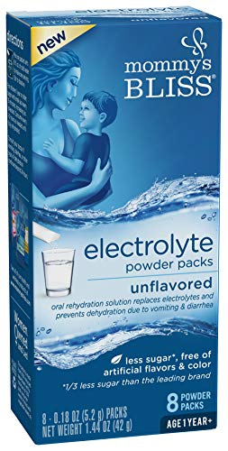 Mommy's Bliss Electrolyte Powder Pack, Vital Mineral Replacement To Rehydrate Your Children Suffering From Upset Stomach, Unflavored - 8 Mix-In Drink Packets, Ages 1+