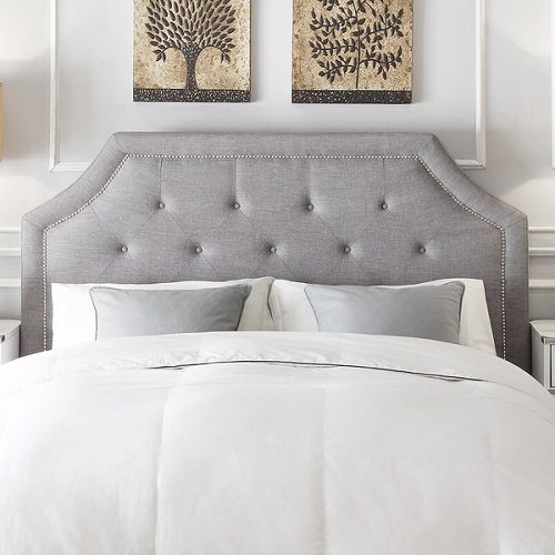 Price comparison product image INSPIRE Q Grace Button Tufted Arched Bridge Queen-sized Headboard Grey Linen