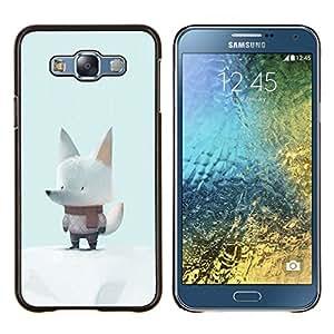 KLONGSHOP // Cubierta de piel con cierre a presión Shell trasero duro de goma Protección Caso - Bufanda Blanca Lobo Nieve Arte de la historieta linda - Samsung Galaxy E7 E700 //