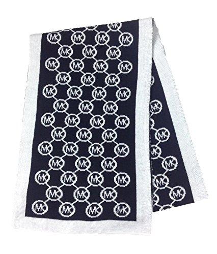 Michael Kors MK Women's Circle Logo Knit Scarf Solid Border, - Sf Kors Michael