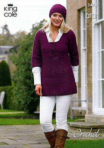King Cole Ladies Tunic Cardigan /& Hat Merino Blend Crochet Pattern 3474 ...