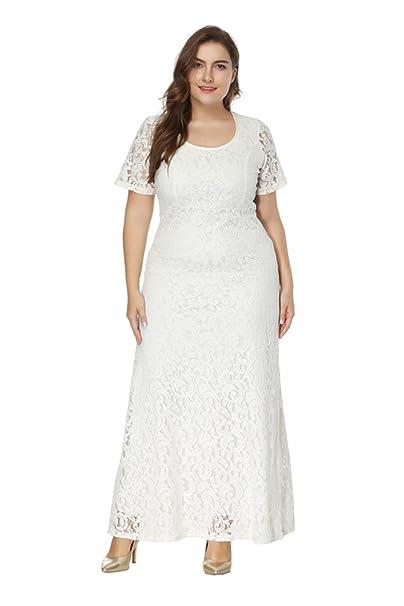 ZhuiKun Mujeres Vestidos Talla Grande Vestido Largos con Manga Corto Vestidos de Encaje Blanco XL