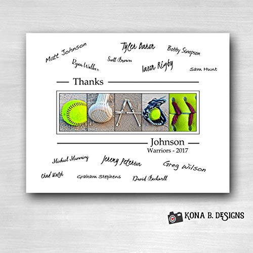 (Softball Coach's Gift with player's signatures - Gift for Softball Coach - 11x14 with border for signatures)