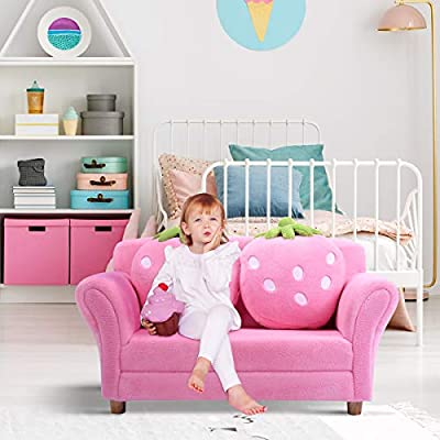 Costzon Kids Sofa, with 2 Cute Strawberry Pillows, Children Couch Armrest Chair Double Seats, Toddler Lounge Bed 2 in 1, Wooden Frame and Coral Fleece Surface for Bedroom, Living Room, Baby Room(Pink): Kitchen & Dining