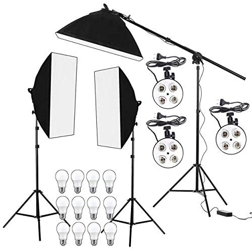 HIFFIN® PRO Quadlux Mark II Soft Led Still & Video Light Softbox 3 Point Lighting Kit with AC Power, YouTube Shooting, Videography, Portrait, Product Photography, Fluorescent Key,Fill,Rim Head Light