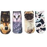 Joyci Unisex 3D Ankle Socks Multi Pattern Low Cut Dollars Animal Socks Cartoon (4 pair)