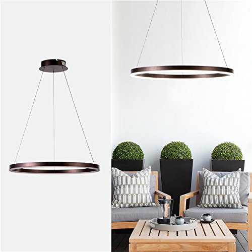 Diborui Ring Pendant Light Modern Round Shape Ceiling Light Fixture Adjustable Led Flush Mount Chandelier with 1 Ring for Bedroom, Living Room, Dining Room, Kitchen, Daylight=5000k by Diborui