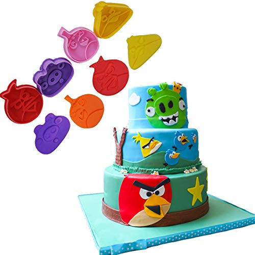 Anyana 4pcs angry birds Fondant Plunger Cutter Set Cake Cookies Decorating Tool Mold baking stamp christmas fall pie crust decoration