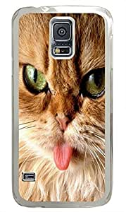 Samsung S5 fancy case Brown Cats Tongue Animal PC Transparent Custom Samsung Galaxy S5 Case Cover by icecream design