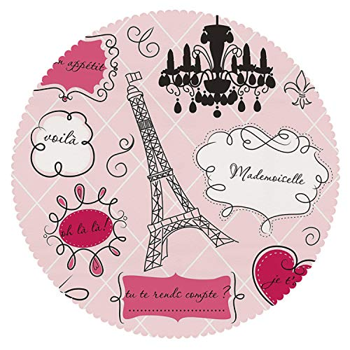 (iPrint Mildewproof Round Tablecloth [ Teen Room Decor,Doodle Frames French Style Rococo Baroque Lantern Mademoiselle Print Decorative,Hot Pink Black ] Fabric Home)